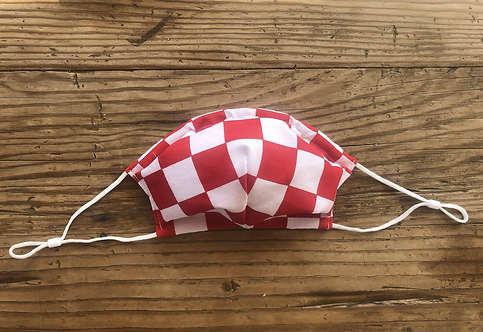 ADULT ICONIC28 Cotton Red & White Chessboard / Croatia ❤️