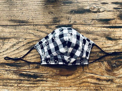 KIDS M/L Plaids and Flowers in Black Cotton Face Mask