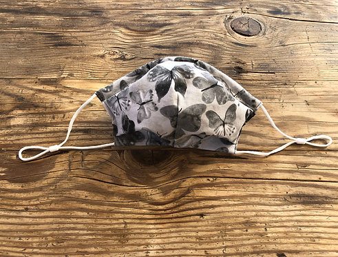 ADULT ICONIC28 Grey Butterflies Cotton Face Mask
