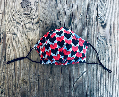 KIDS M/L Black and Red Hearts