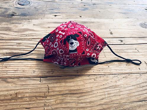 KIDS M/L Bandanna Puppy Cotton Face Mask