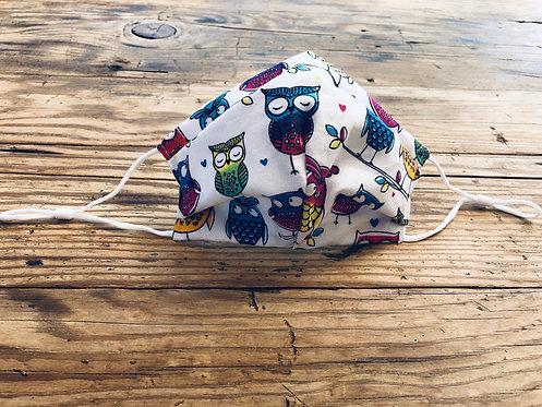 KIDS M/L Owls Cotton Face Mask
