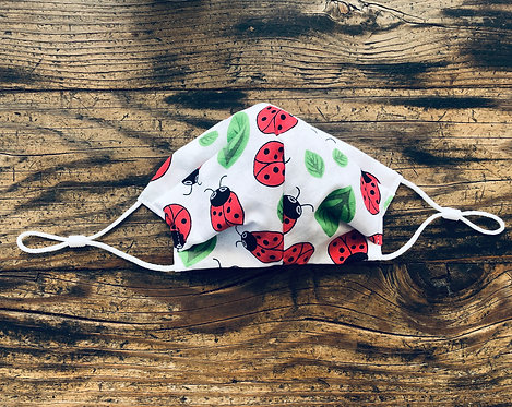 KIDS SMALL Lady Bug Cotton Face Mask