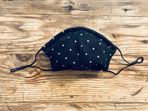ADULT ICONIC28 Black and White Polka Dots Cotton Face Mask