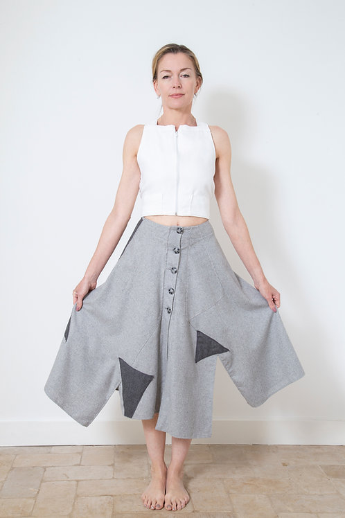 Grey Wool Bondage Skirt
