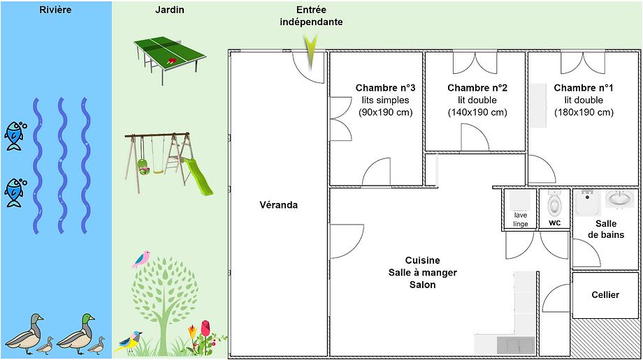 Gîte 1804 - Plan intérieur, rivière, jardin, ping pong, balançoire, spa sauna - Location de gîtes vacances en montagne Haut-Jura