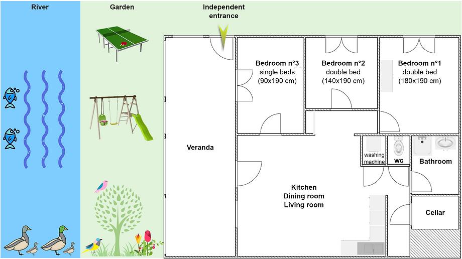 Gite 1804 - Interior plan, river, garden, ping pong, swing, spa sauna - High-Jura mountain vacation rental