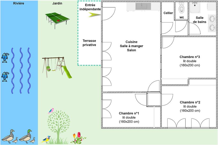 Gîte 295 - Plan intérieur, rivière, jardin, ping pong, balançoire, spa sauna - Location de gîtes vacances en montagne Haut-Jura