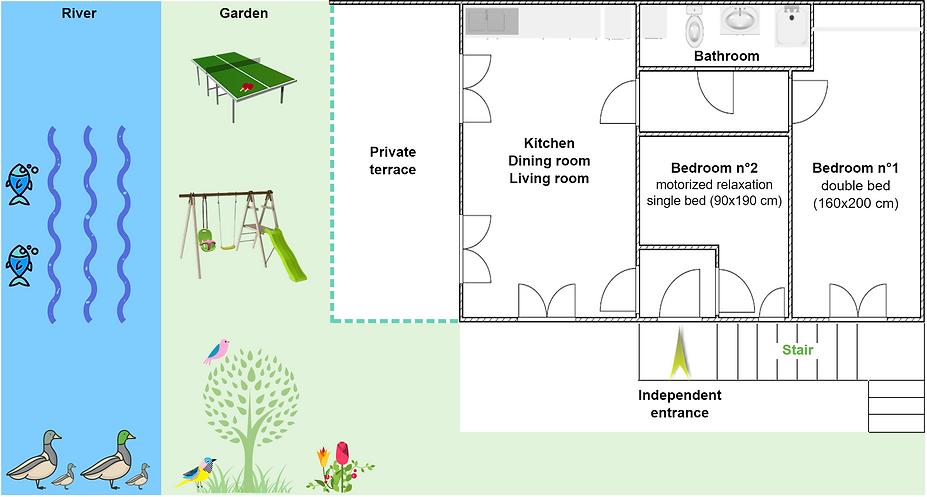 Gite 1805 - Interior plan, river, garden, ping pong, swing, spa sauna - High-Jura mountain vacation rental
