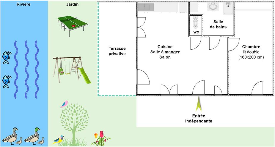 Gîte 1805 Bis - Plan intérieur, rivière, jardin, ping pong, balançoire, spa sauna - Location de gîtes vacances en montagne Haut-Jura
