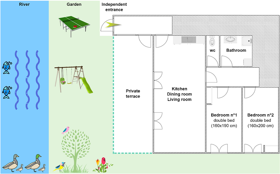 Gite 829 - Interior plan, river, garden, ping pong, swing, spa sauna - High-Jura mountain vacation rental