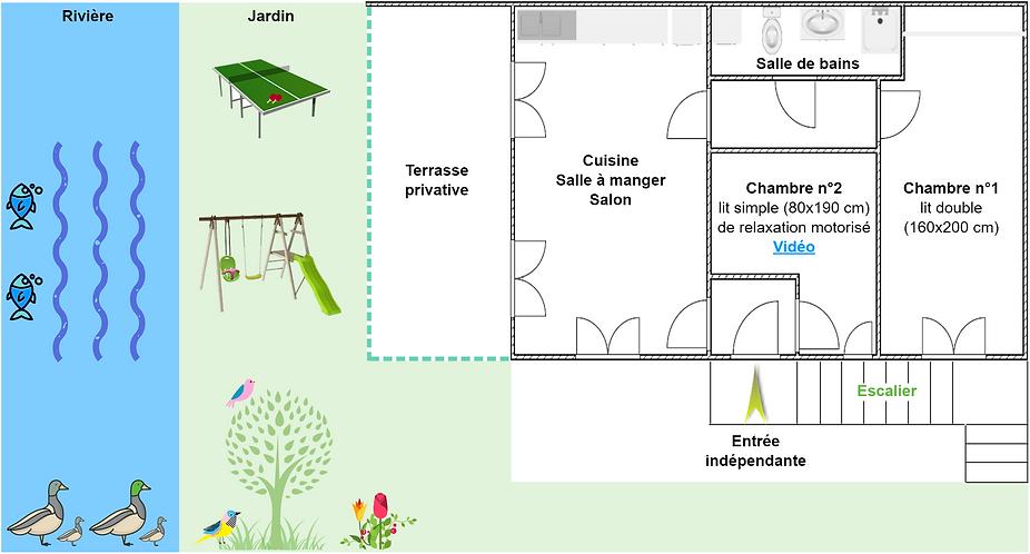Gîte 1805 - Plan intérieur, rivière, jardin, ping pong, balançoire, spa sauna - Location de gîtes vacances en montagne Haut-Jura