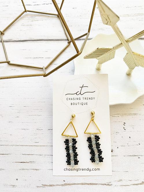 Triangle Black Beaded Earrings