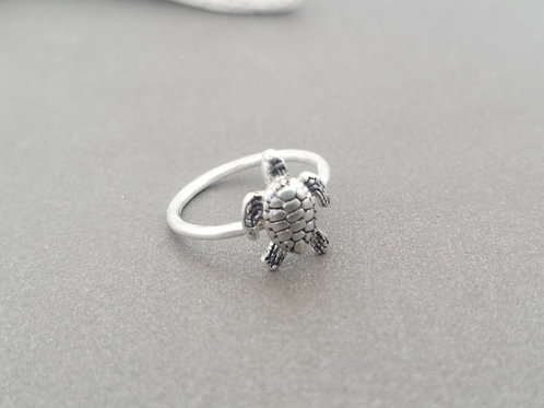 Sterling Silver Sea Turtle Charm Ring