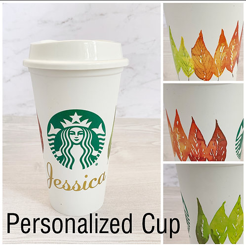 Personalized Custom Starbucks Fall Leaves Reusable Cup
