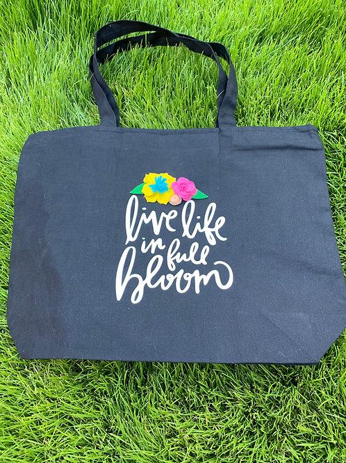 Live Life in Full Bloom Black Zipper Tote Bag