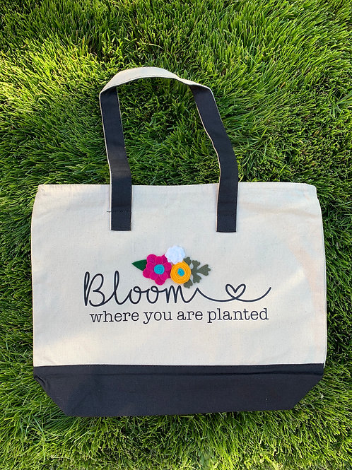 Bloom Where You are Planted Felt Flower Tote Bag