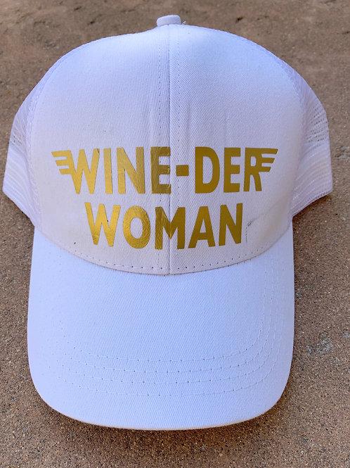 Wine-Der Woman Ponytail, Messy Bun Baseball Hat