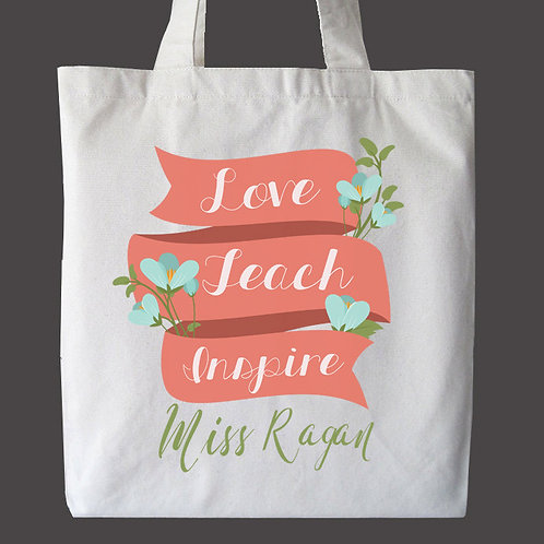 Love, Teach, Inspire Personalized Tote Bag