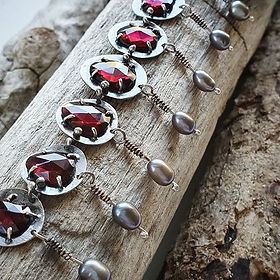 Sterling Silver Garnet and Cultured Pear