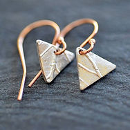 Silver Leaf Earrings with Rose Gold