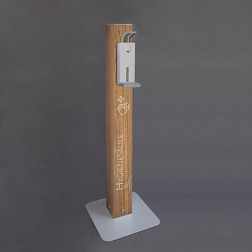 Desinfektionssäule_Holz hell mit manuellem Spender
