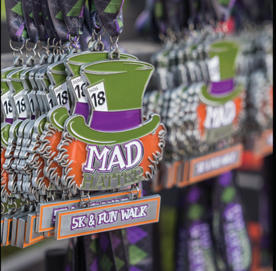 Mad Hatter 5K & Fun Walk finisher medals