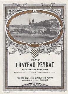 Château Haut Peyrat - Etiquette 1950 Château Peyrat