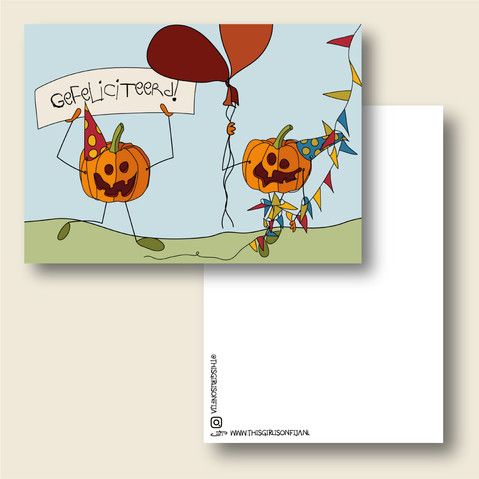 Vrolijke verjaardagskaart met halloween pompoenen