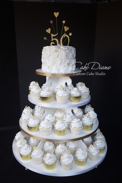 50th anniversary cupcake tower