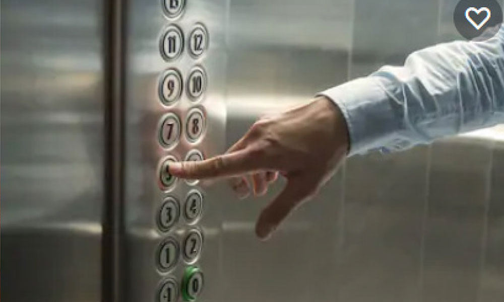 Elevator Buttons with Antimicrobial Film