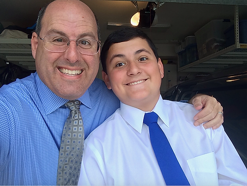 Ethan Hirschberg with his dad