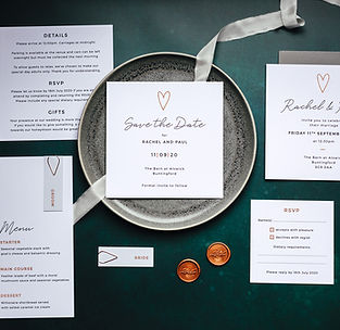Contemporary Wedding Stationery Set with Invitation and Save The Date Collection Gold Foil