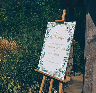 Wedding Welcome Sign on Easel Watercolour Foliage Gold Calligraphy