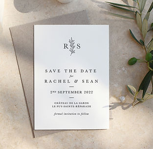 Contemporary Bespoke Wedding Save The Date with Floral Branch