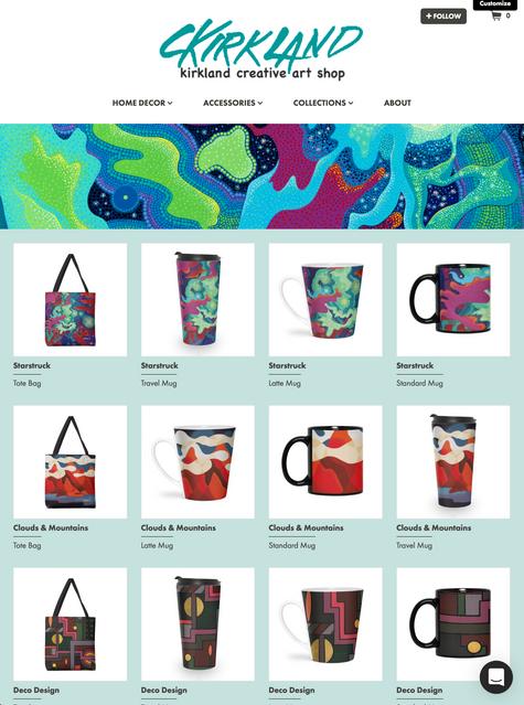 Kirkland Creative Art Shop Home Page
