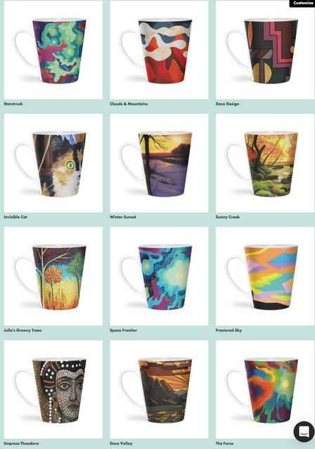 Kirkland Creative Art Shop Latte Mugs