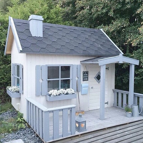 STEPHANIE Wooden Playhouse | With Decking, Canopy & 3 Flower Pots | Flat Packed