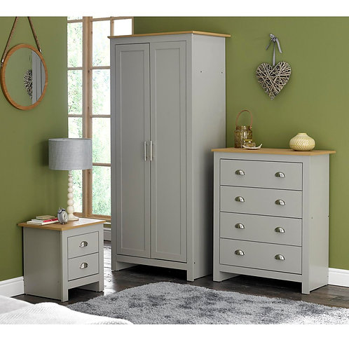 3 Piece Bedroom Set Grey 2 Door Wardrobe