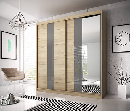 BILBAO II Wardrobe | Sliding Wardrobe 203cm in Light Oak | Flat Packed Furniture