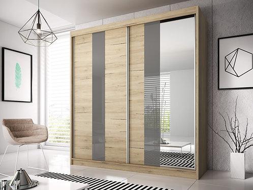 BILBAO II Wardrobe | Sliding Wardrobe 203cm in Light Oak | Flat Packed Furniture