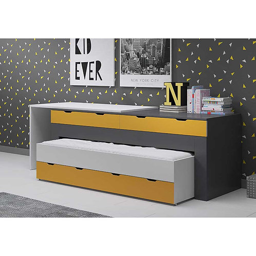 White, Grey & Yellow Childrens Multi-Functional Bed | Desk & Storage