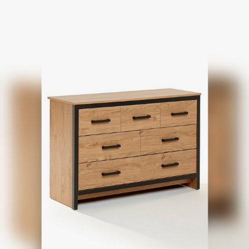 7 Drawer Chest with Black Edging and Oak-Effect Finish