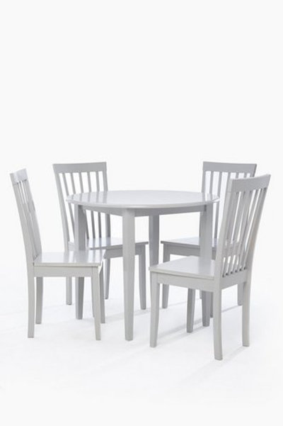Dining Set 4 Chairs Round Table Light Grey