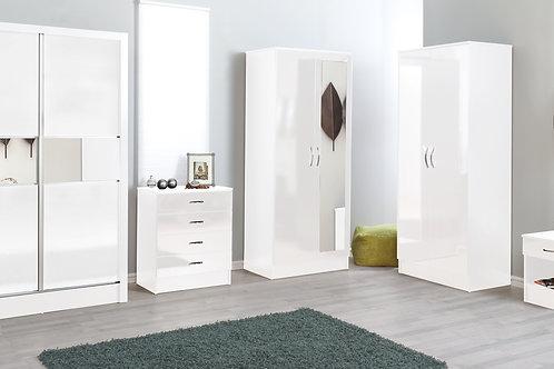 Modern Malibu White Two Tone 3 Piece 2 Door Wardrobe Bedroom Set