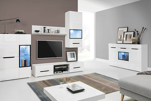 PEDRO Wall Unit & Sideboard Set   White High Gloss   Flat Packed