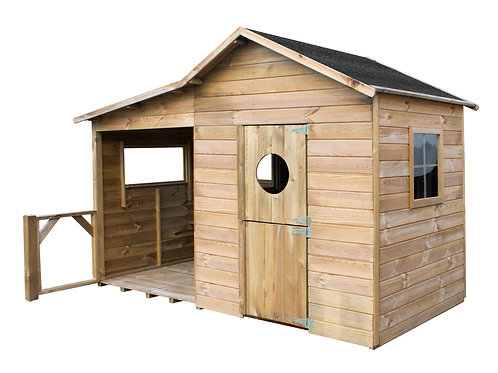 ELSA Wooden Playhouse | With Doors, Window & Playing Area | Flat Packed