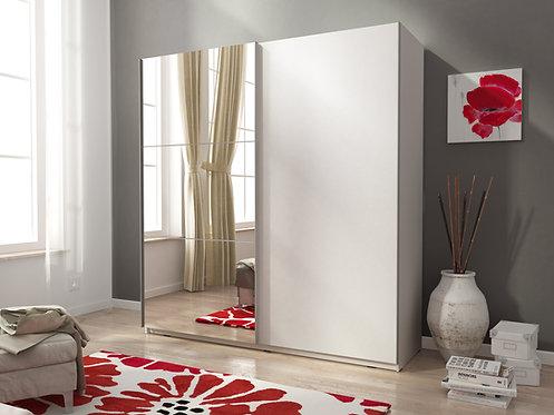 LEON II Wardrobe   Sliding Wardrobe 150cm om White   Flat Packed Furniture