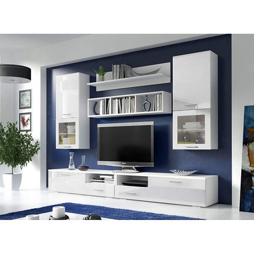 ASTON Living Room Wall Unit Set   High Gloss White And White   Flat Packed