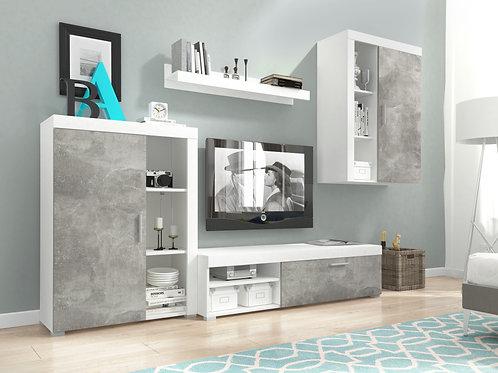 OLI Wall Unit Set | White/Light With Atelier Finish | Flat Packed